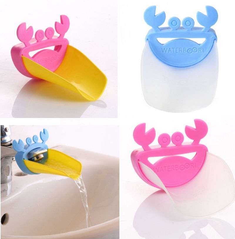 Faucet Extender Children Guiding Gutter for Kid Hand Washing Faucet Bathroom Cute Crab Shape