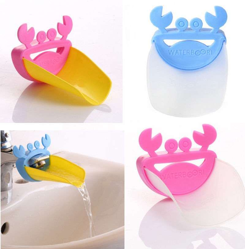 Faucet Extender Children Guiding Gutter for Kid Hand Washing Faucet Bathroom Cute Crab Shape-7