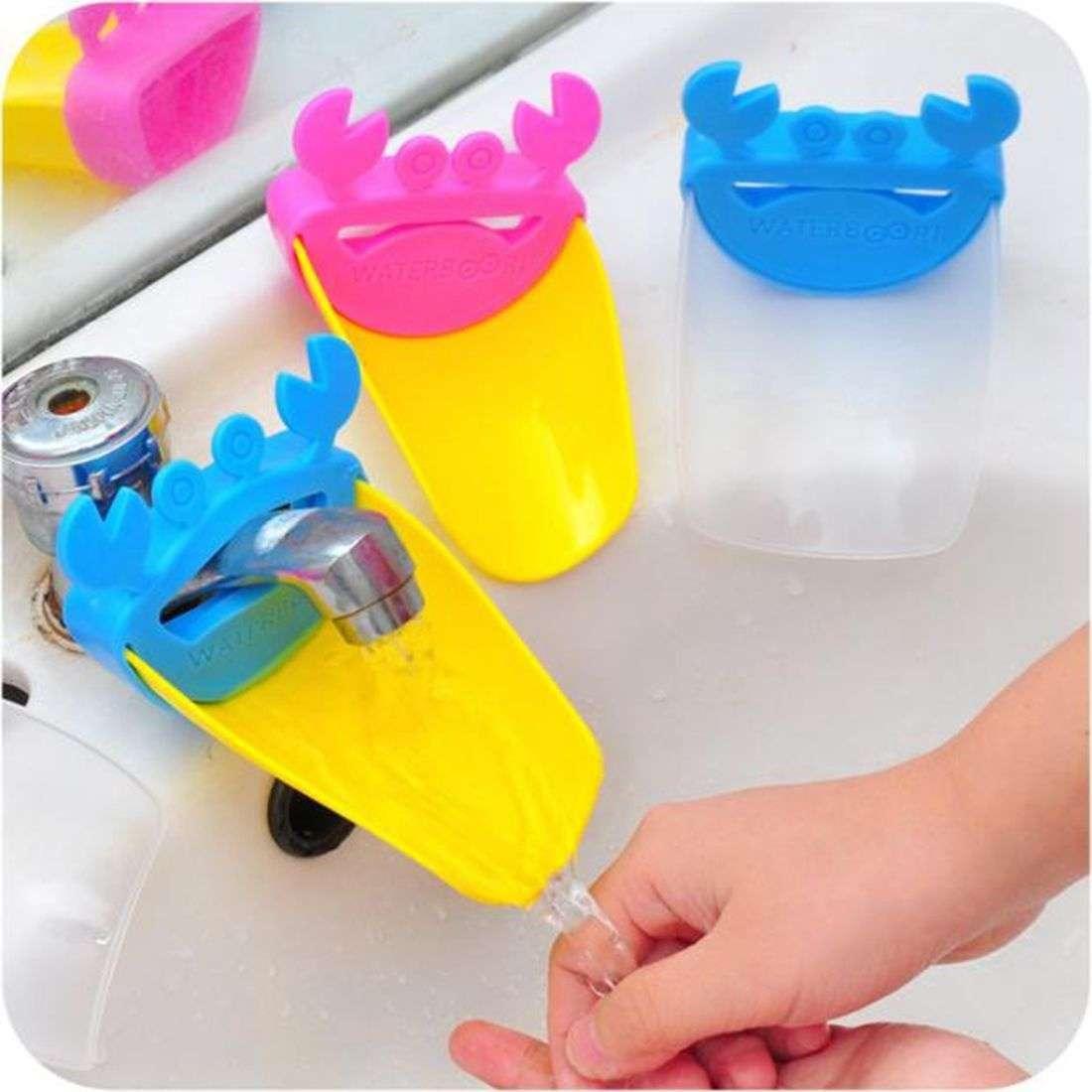 Faucet Extender Children Guiding Gutter for Kid Hand Washing Faucet Bathroom Cute Crab Shape-8