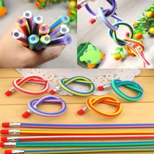 5 Pcs Colorful Magic Bendy Flexible Soft Pencil With Eraser For Kids Writing Gift Gadget