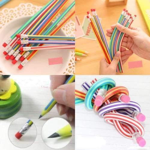 5 Pcs Colorful Magic Bendy Flexible Soft Pencil With Eraser For Kids Writing Gift Gadget-3