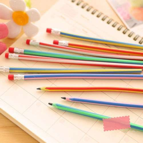 5 Pcs Colorful Magic Bendy Flexible Soft Pencil With Eraser For Kids Writing Gift Gadget-4