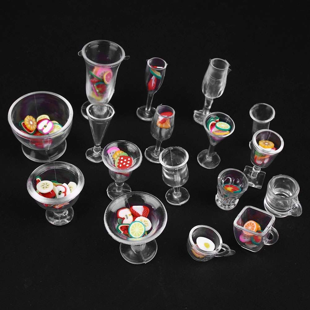 Set Dollhouse Mini Plastic Drink Cups DIY Goblets Dish Plate Tableware Toy Set