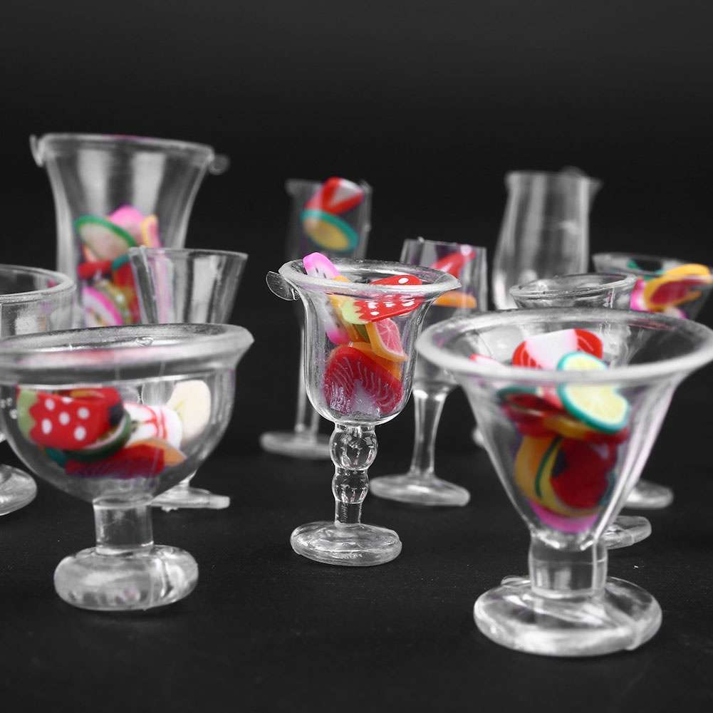 Set Dollhouse Mini Plastic Drink Cups DIY Goblets Dish Plate Tableware Toy Set-5