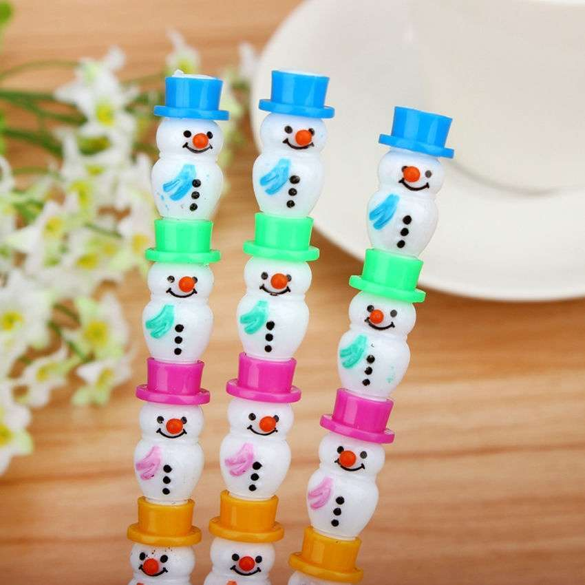 2 Pcs Style Christmas Cute Snowman Stackable Writing Pencil Set Colorful Kid-1