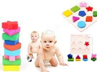 Kl3X-Classic Building Blocks Top Wooden 9 Shapes Colorful Puzzle Toy Baby Educational Brick Toy