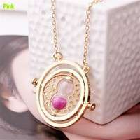 KpNr-Time Turner Necklace Hermione Granger Rotating Spins Hourglass Pendant Necklace(Color: Silver Gold)