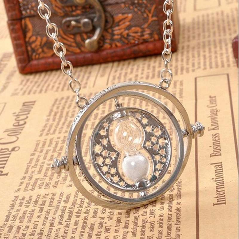 Time turner necklace hermione granger rotating spins hourglass time turner necklace hermione granger rotating spins hourglass pendant necklacecolor silver gold mozeypictures Image collections