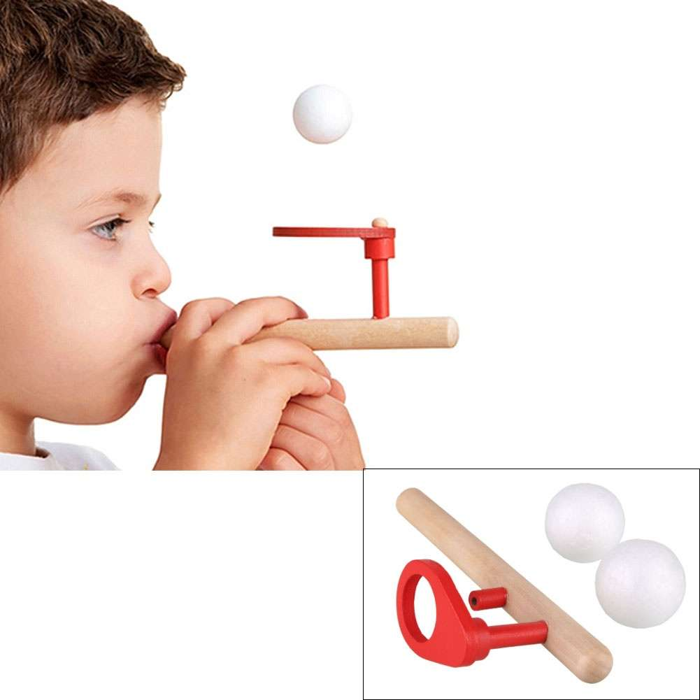 Wooden Blowing Balance Floating Ball Game Flute Blow Children's Educational Toy
