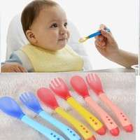 Kvu5-Babies Baby Spoon Set Suction Cup Bowl Slip-resistant Tableware And Temperature Sensing