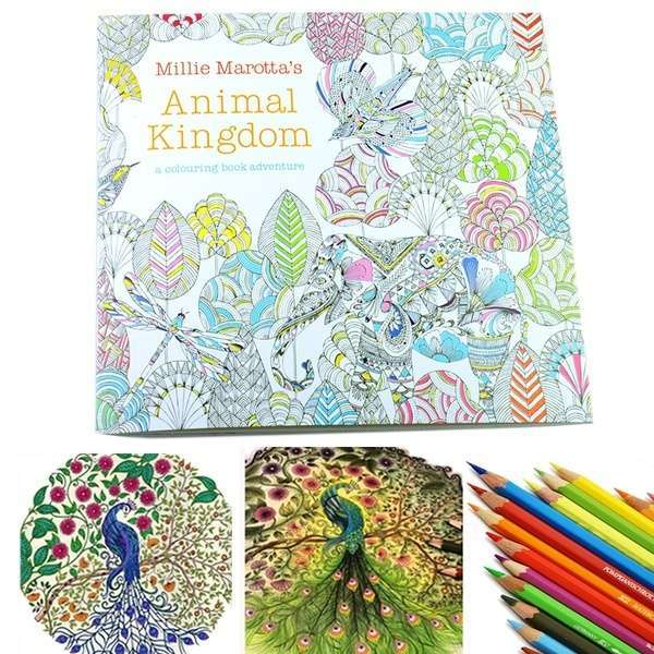 Children Adult Animal Kingdom Treasure Hunt Coloring Painting Book