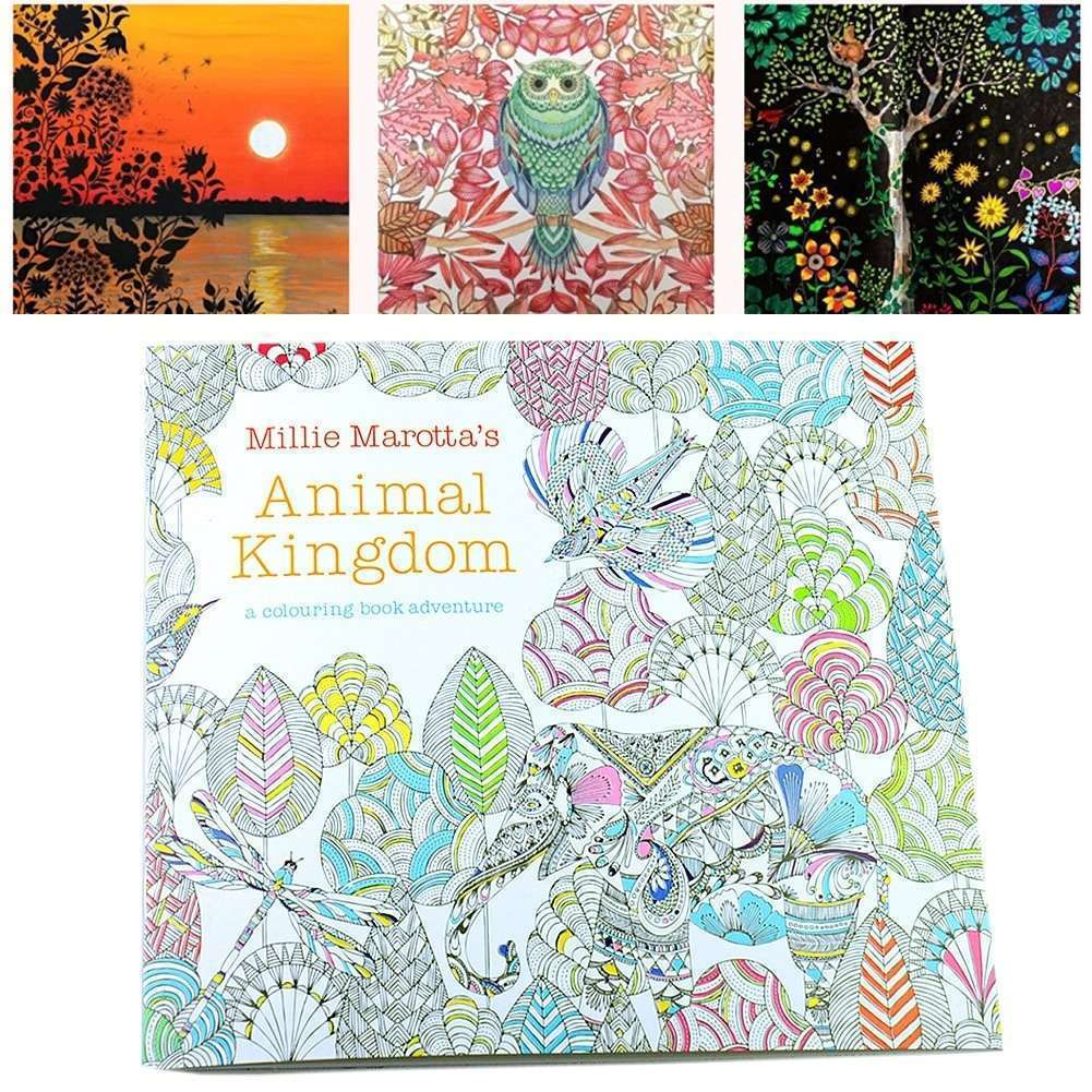 Children Adult Animal Kingdom Treasure Hunt Coloring Painting Book-2