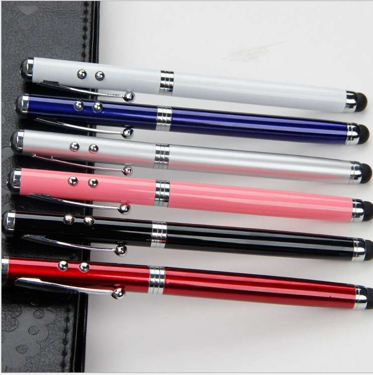4in1 Laser Pointer LED Torch Touch Screen Stylus Ball Pen for Phone Pad-6
