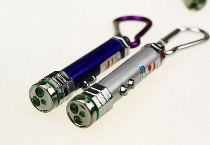3 in1 Multi function Mini Laser Light Pointer LED Torch Flashlight Key chain-2