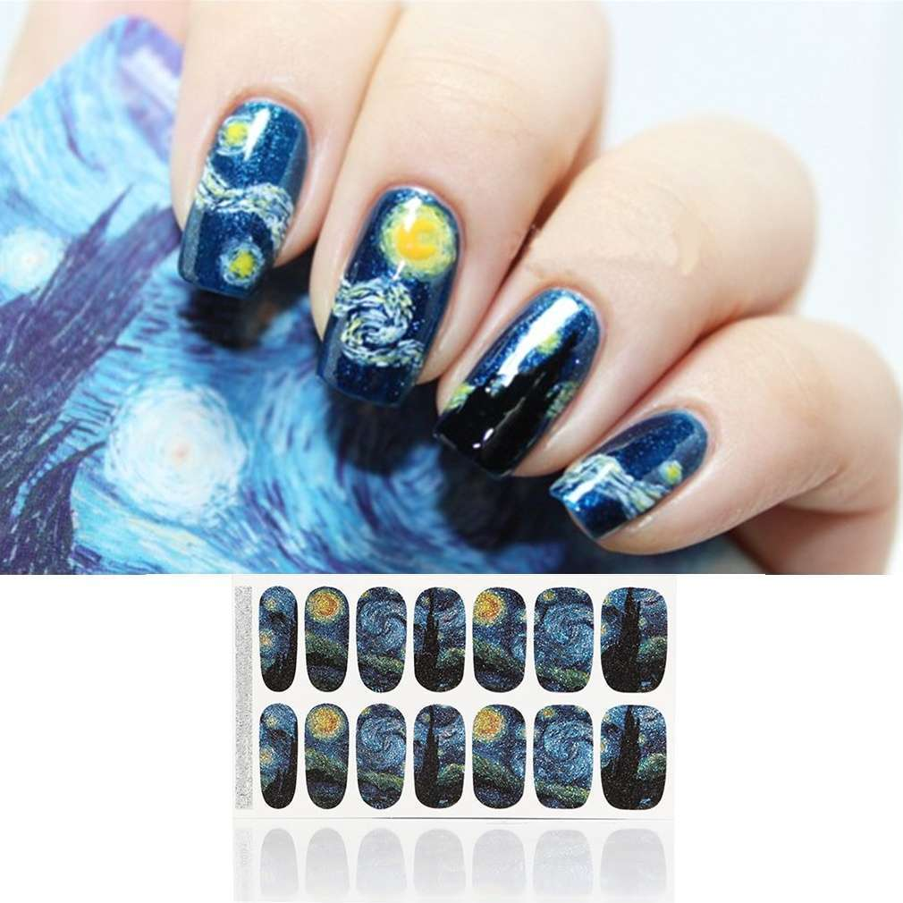 Ladies Nail Art Mysterious Night Patterned Full Nail Stickers