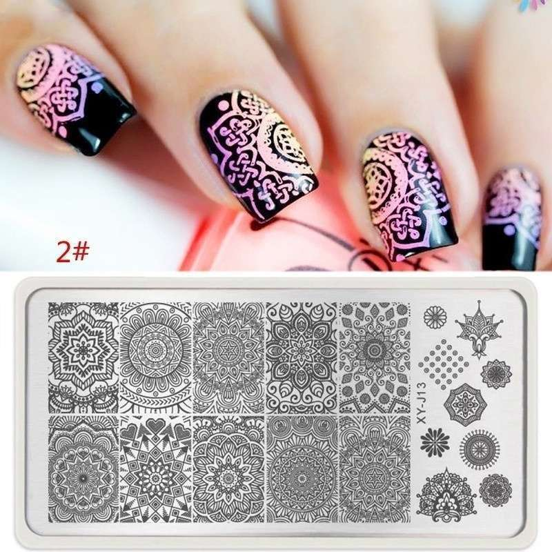 Nail Art Stamp Stencil Stamping Template Plate Set Tool Stamper ...