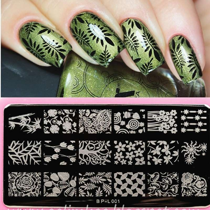 Flowers & Leaves Nail Art Stamp Template Image Plate BORN PRETTY BP L001 12.5 x 6.5cm