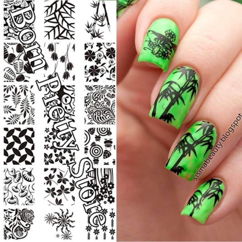 Flowers & Leaves Nail Art Stamp Template Image Plate BORN PRETTY BP L001 12.5 x 6.5cm-12