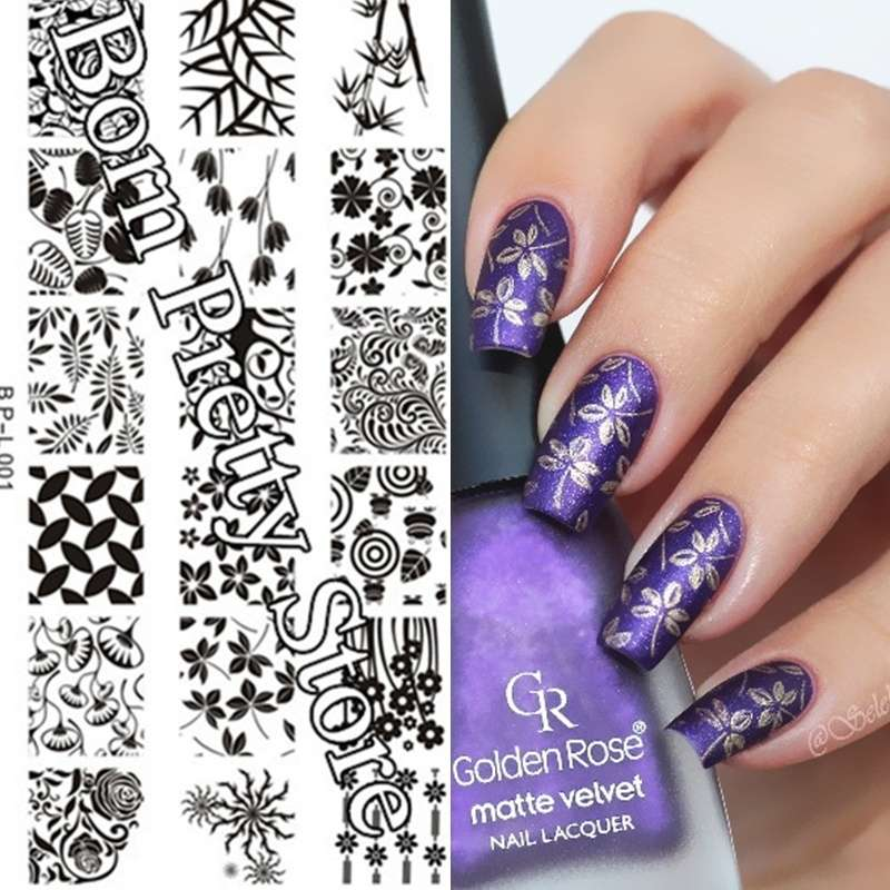 Flowers & Leaves Nail Art Stamp Template Image Plate BORN PRETTY BP L001 12.5 x 6.5cm-13
