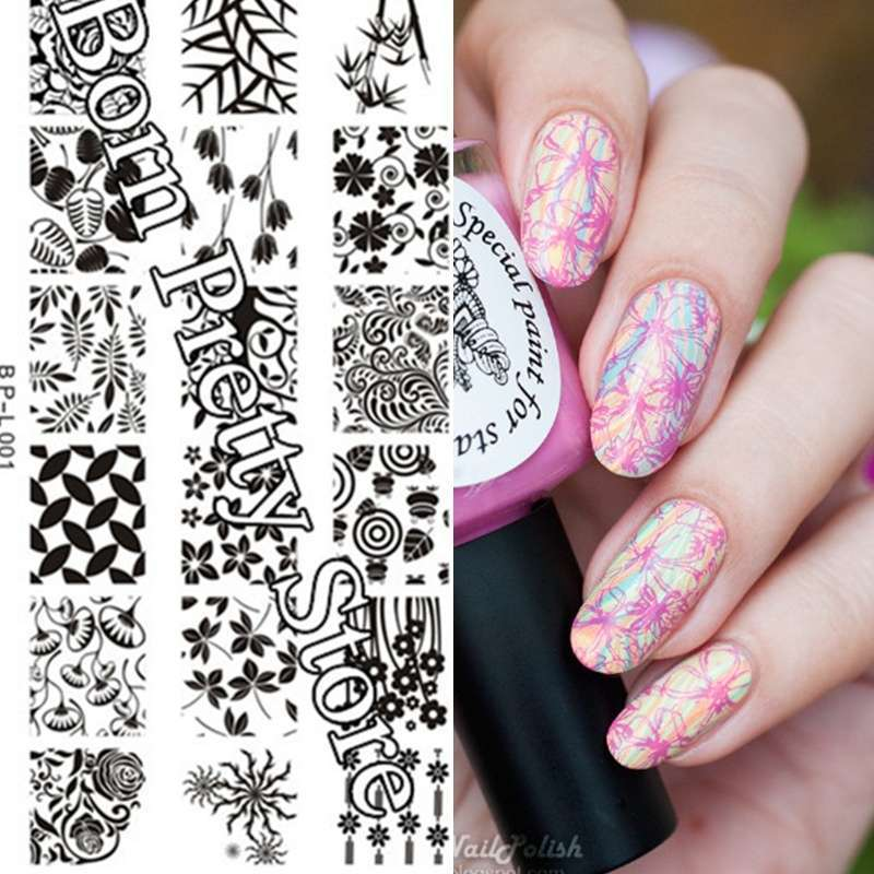 Flowers & Leaves Nail Art Stamp Template Image Plate BORN PRETTY BP L001 12.5 x 6.5cm-14