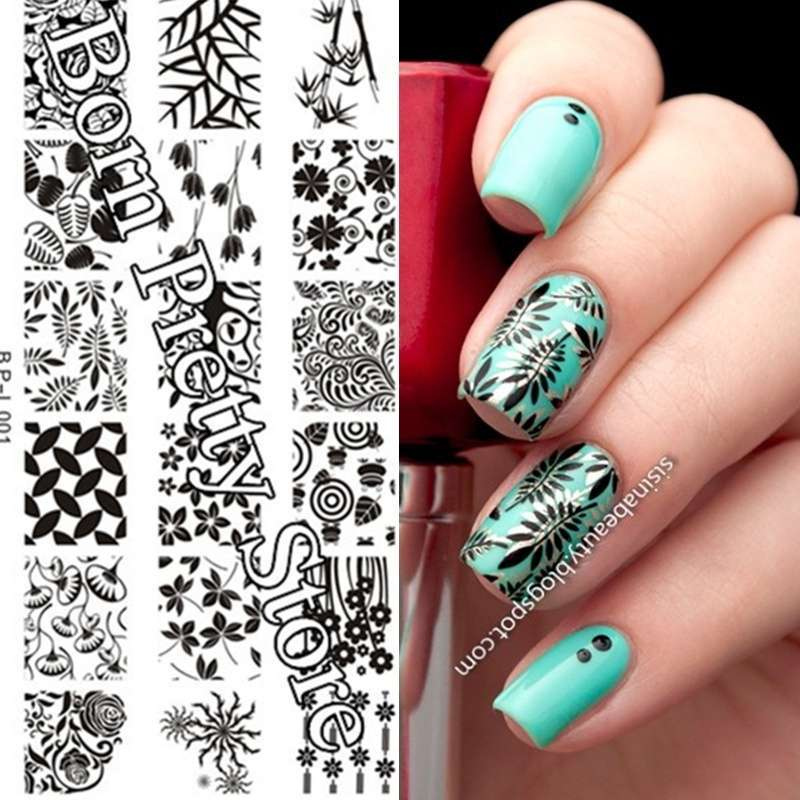 Flowers & Leaves Nail Art Stamp Template Image Plate BORN PRETTY BP L001 12.5 x 6.5cm-15
