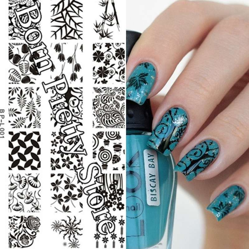 Flowers & Leaves Nail Art Stamp Template Image Plate BORN PRETTY BP L001 12.5 x 6.5cm-16