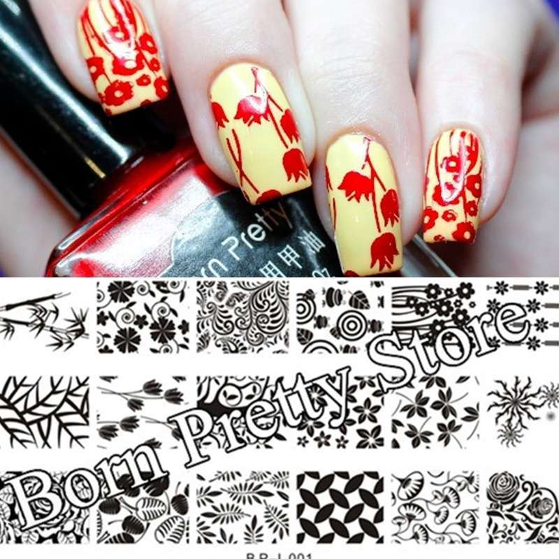 Flowers & Leaves Nail Art Stamp Template Image Plate BORN PRETTY BP L001 12.5 x 6.5cm-19