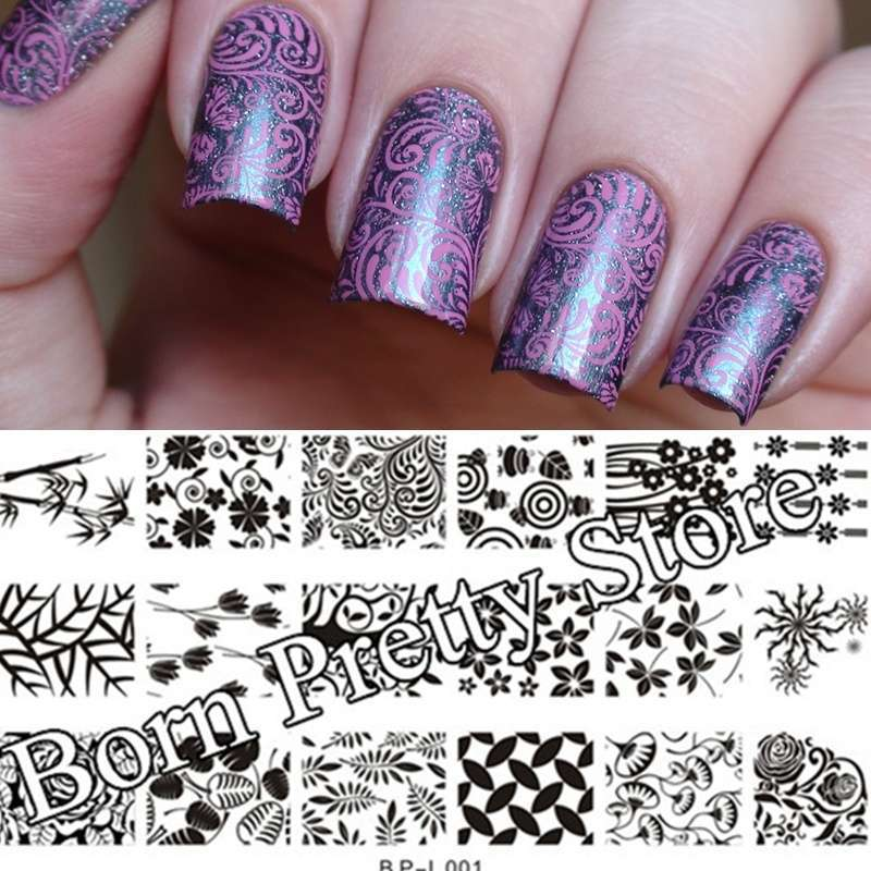 Flowers & Leaves Nail Art Stamp Template Image Plate BORN PRETTY BP L001 12.5 x 6.5cm-21