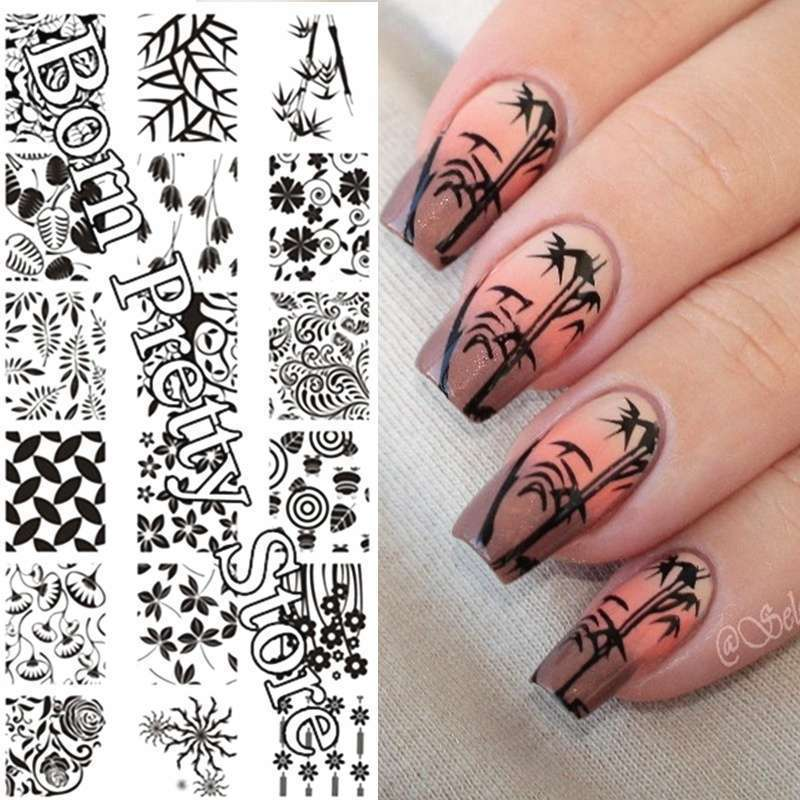Flowers & Leaves Nail Art Stamp Template Image Plate BORN PRETTY BP L001 12.5 x 6.5cm-9