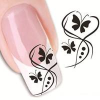 NKIn-3D Nail Sticker Decal Sticker Butterfly And Flowers Design Design New Arrival Nail Art Stickers Decal