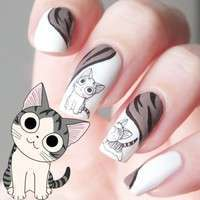 NQeo-1Pc Happy Cute Cat Pattern Nail Art Water Decals Transfers Sticker (Size: 6cm By 5cm)