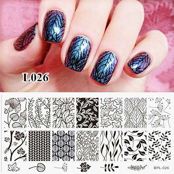 Flower Vine Nail Art Stamp Template Leaves Image Plate 12.5 x 6.5cm