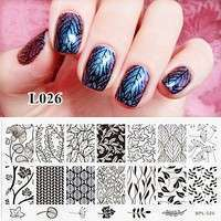NTtn-Flower Vine Nail Art Stamp Template Leaves Image Plate 12.5 X 6.5cm