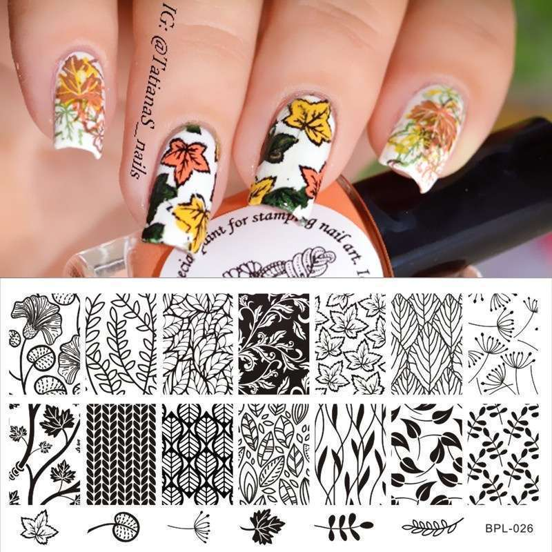 Flower Vine Nail Art Stamp Template Leaves Image Plate 12.5 x 6.5cm-1
