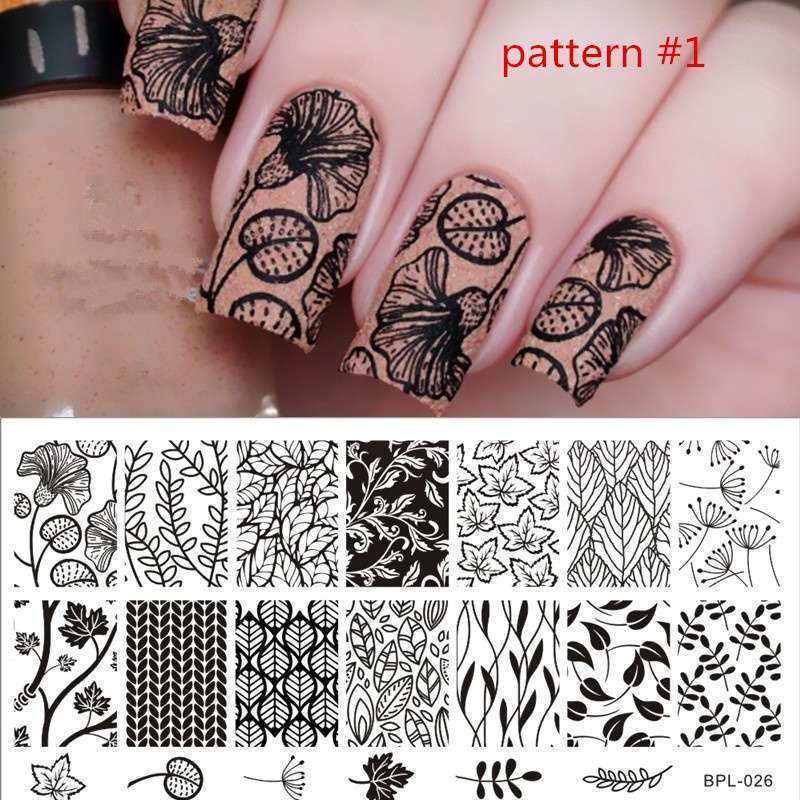 Flower Vine Nail Art Stamp Template Leaves Image Plate 12.5 x 6.5cm-19