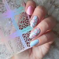 NZka-Fashion 12 Tips/sheet Irregular Triangle Pattern Nail Vinyls Nail Art Manicure Stencil Stickers