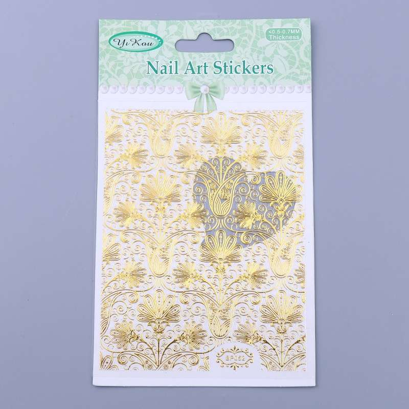 1 Sheet Embossed Flower 3D Nail Stickers Blooming 3D Nail Art Decals BP052-9
