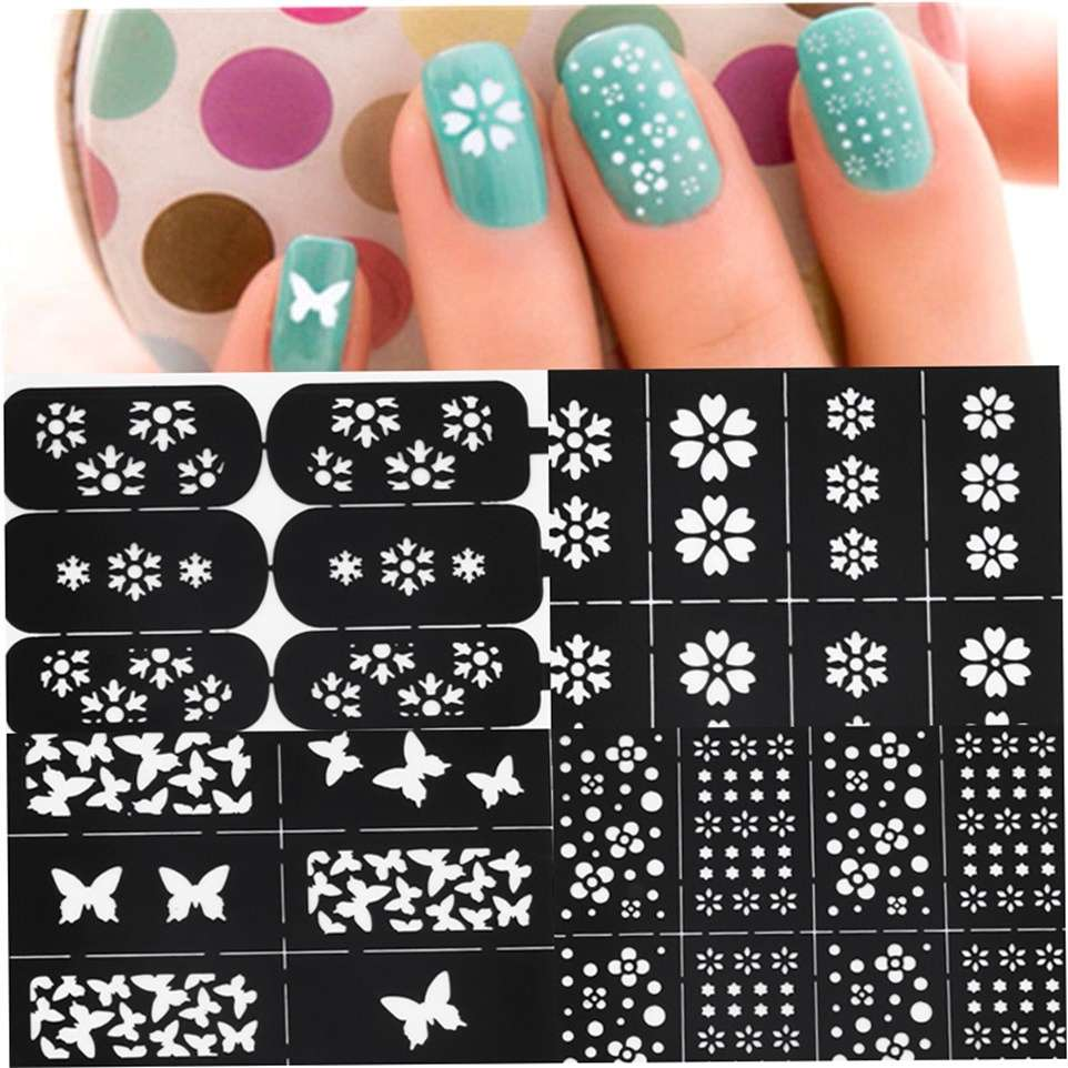 Multi Patterns Nail Art Stencil Guide Manicure Template Stickers ...