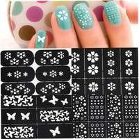 Nl25-Multi Patterns Nail Art Stencil Guide Manicure Template Stickers Stamping