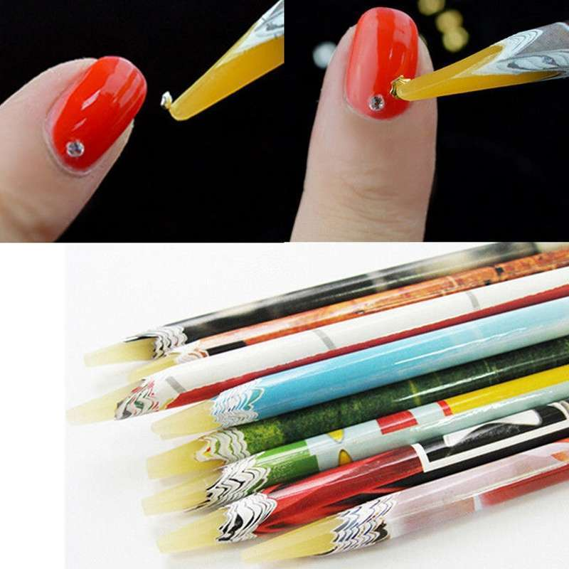Arrival 2 PC Wax Resin Rhinestones Gems Nail Art Picking Tools Pencil Pen Pick Up Pen