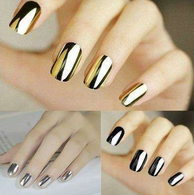Smooth Nail Art Sticker Patch Foils Armour Full Self Adhesive Polish Tips Wraps DIY Decoration Black Gold Silver