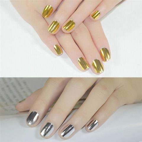 Smooth Nail Art Sticker Patch Foils Armour Full Self Adhesive Polish Tips Wraps DIY Decoration Black Gold Silver-1