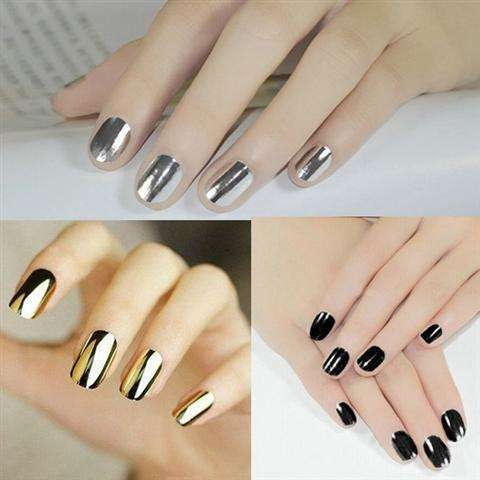 Smooth Nail Art Sticker Patch Foils Armour Full Self Adhesive Polish Tips Wraps DIY Decoration Black Gold Silver-2