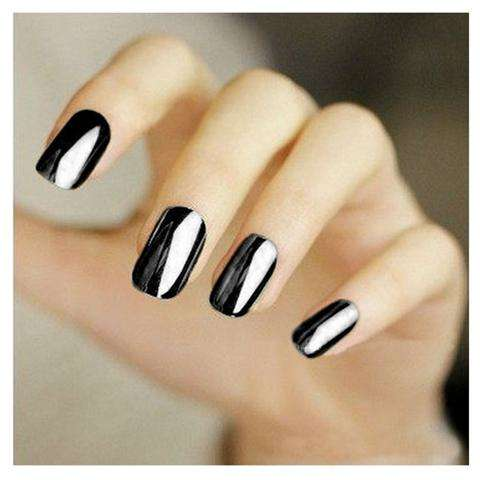 Smooth Nail Art Sticker Patch Foils Armour Full Self Adhesive Polish Tips Wraps DIY Decoration Black Gold Silver-4