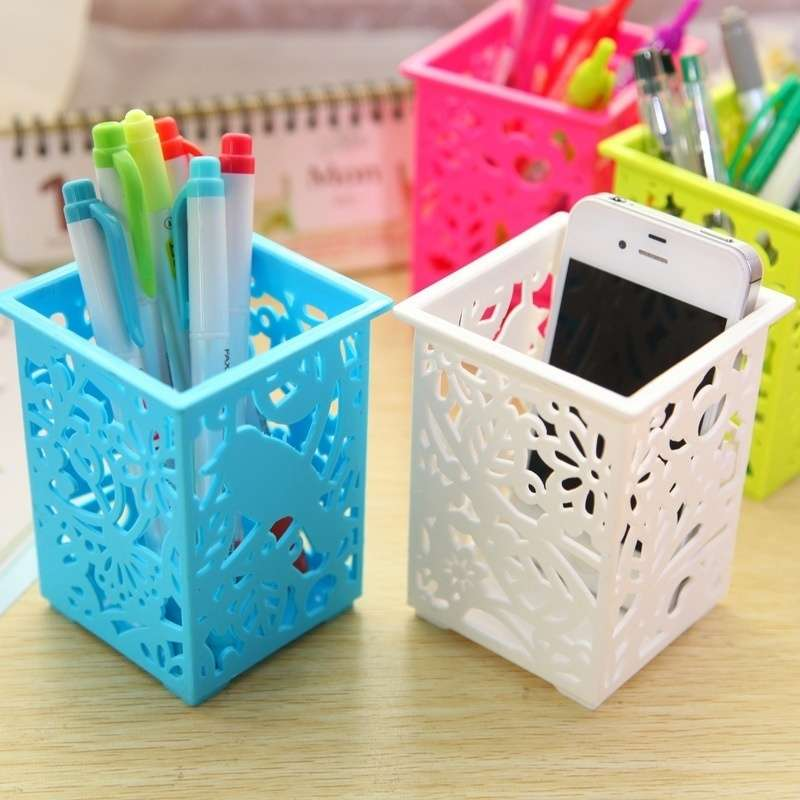 Floral Pencil Holder Desk Pen Containers Organizer Office  Plastic Pen Pot