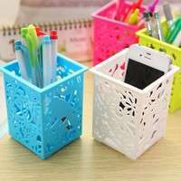 O1wL-Floral Pencil Holder Desk Pen Containers Organizer Office  Plastic Pen Pot