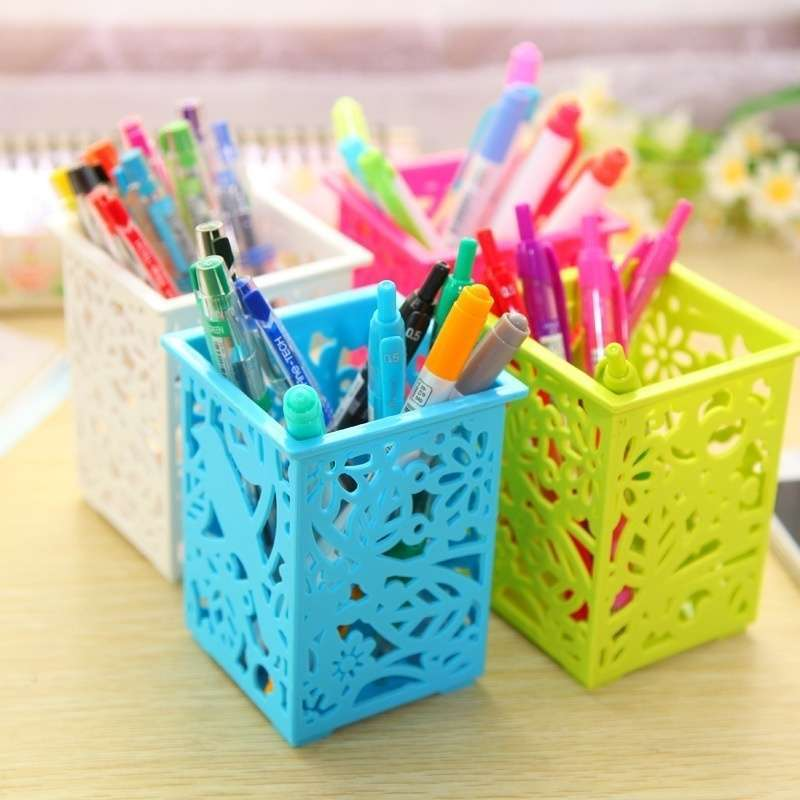 Floral Pencil Holder Desk Pen Containers Organizer Office  Plastic Pen Pot-1