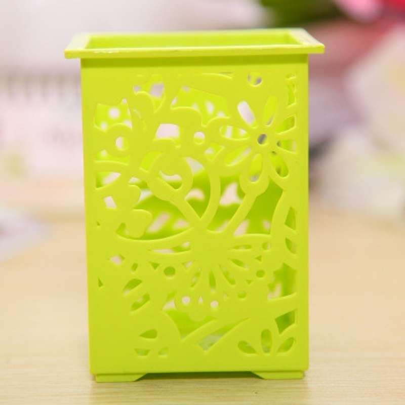 Floral Pencil Holder Desk Pen Containers Organizer Office  Plastic Pen Pot-3