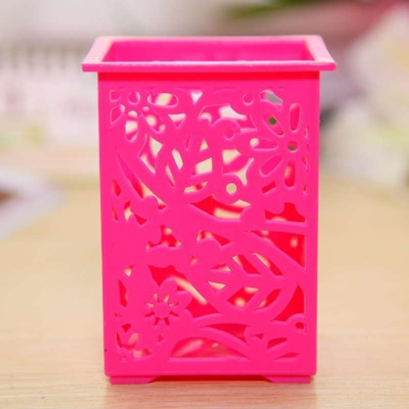 Floral Pencil Holder Desk Pen Containers Organizer Office  Plastic Pen Pot-4
