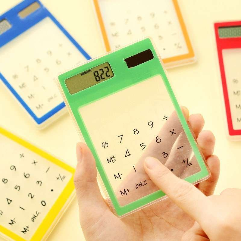 Transparent Calculator Ultra LCD Slim Solar Touch Screen 8 Digit Electronic